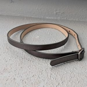 J. Crew italian leather metallic skinny belt